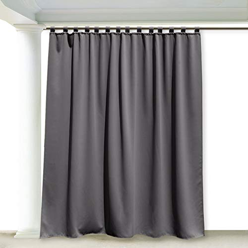 RYB HOME Outdoor Curtains for Patio - Thermal Insulated Drape for Screen Porch, Waterproof Stain & UV Repellent Exterior Lanai / Outside Dining Area, 100 Wide x 95 Long, Grey
