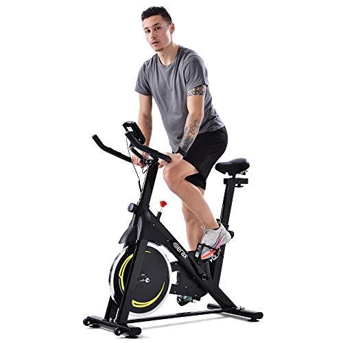 Bicicleta de interior MUNCASO con correa magnética para entrenamiento en casa, con volante de inercia de 8 kg, para gimnasia en casa, color negro y amarillo