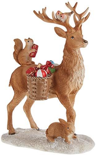 Villeroy & Boch - Winter Collage Accessoires Ciervo con Animales del Bosque, Elegante Adorno Colgante para el árbol de Navidad, poliresina, Multicolor, 14,5x9x21 cm