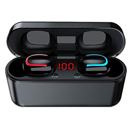 COOLEAD Auriculares Bluetooth, Estéreo Auriculares Inalámbricos Bluetooth 5.0, HiFi Mini Estéreo In-Ear Auriculares Bluetooth Deportivos con Caja de Carga de 2000mAh Portátil Y Micrófono Integrado