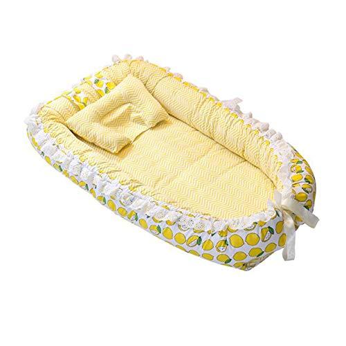 ZIXIANG Lits-Cages Lit Bionique Réversible Nid De Bébé Baby Lounger- Lit De Bébé Co-Sleeping, Convient pour 0-24 Mois Lits bébé Berceaux (Color : Yellow)