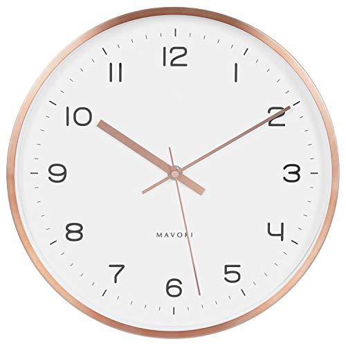 MAVORI® Wanduhr lautlos mit schleichenden Sekundenzeiger ohne Tickgeräusche und geräuschlosen Quartz Laufwerk - sehr stilvoll und modern mit hochwertigen Metallrahmen in Rosegold