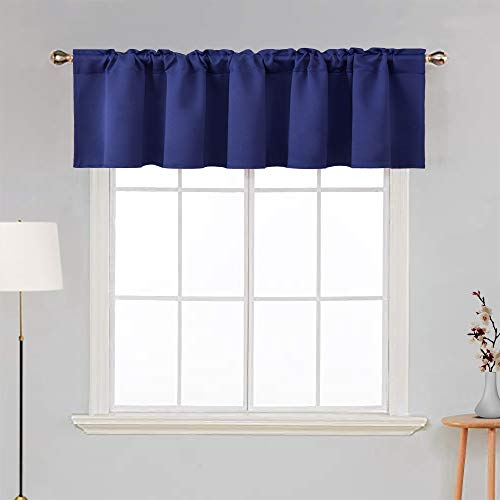 MIULEE Blackout Valance Rod Pocket Thermal Insulated Window Treatment Tiers Solid Short Curtain for Small Window Bedroom 42 x 18 Inches 1 Panel Navy Blue