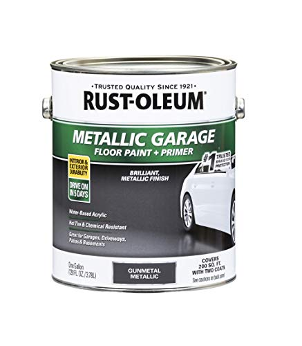 Rust-Oleum 349353 Metallic Garage Floor Paint + Primer Gunmetal gal