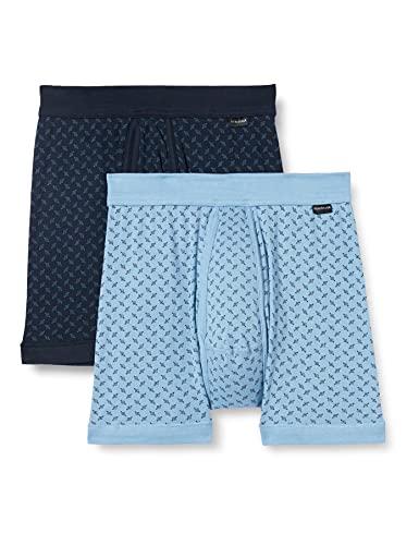 Schiesser Herren Unterhose mit Bein und Eingriff Doppelpack Retroshorts, Blau Gemustert, 6