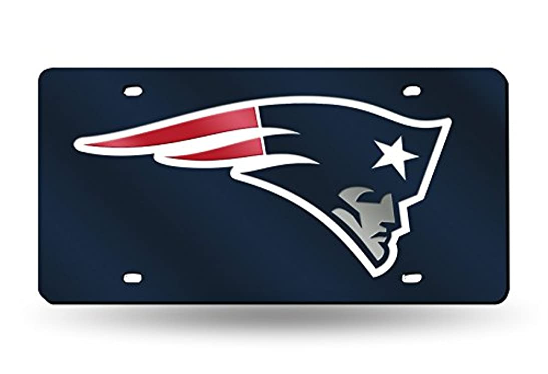 NFL New England Patriots Laser Inlaid Metal License Plate Tag, Navy, 6