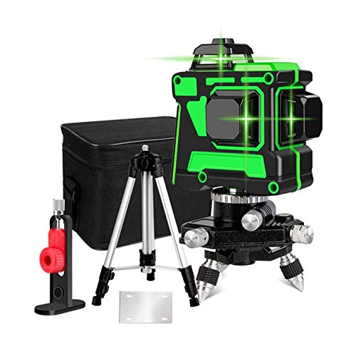 JIALILI 3X360 Line leveling, 3D Cross Line 12 lines Green Beam 131ft 2 vertical 1 horizontal line with the first base, three floors, leveling tool for alignment