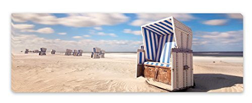 PICSonPAPER Leinwandbild Panorama Nordsee Strandkorb, 90 cm x 30 cm, Dekoration, Kunstdruck, Wandbild, Geschenk, Leinwand Strand (Nordsee)
