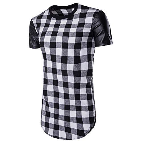 T-Shirt Herren Kariert Rundhals Spleißen Kurzarm Herren Freizeitshirt Sommer Reißverschluss Irregulär Herren Streetwear Moderner Mode Trend Herren Shirt F-Black2 L