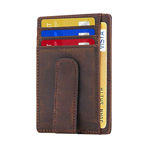 Beartwo RFID Blocking Minimalist Genuine Leather Money Clip Wallet Slim Front Pocket Wallet Credit Card Holder with ID Window