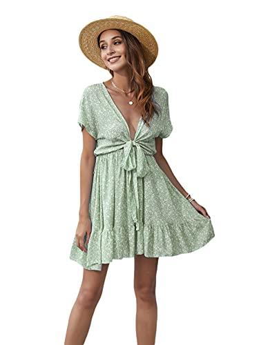 SheIn Women's Deep V-Neck Short Sleeve Tie Front Floral Print Ruffle Hem Dress Plain Mint Green Large