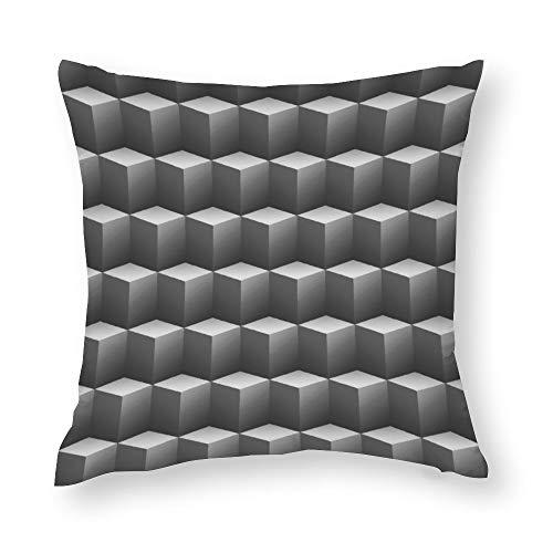 Silver Grey Platinum Cubes 3D Throw Pillow Covers Case Cushion Pillowcase with Hidden Zipper Closure for Sofa Home Decor 16 x 16 Inches