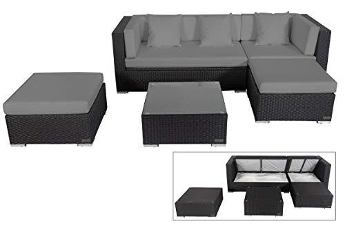 OUTFLEXX Loungemöbel-Set, schwarz aus Polyrattan-Geflecht, Loungeecke für 5 Personen, wasserfeste Kissenbox, inkl. Kaffeetisch