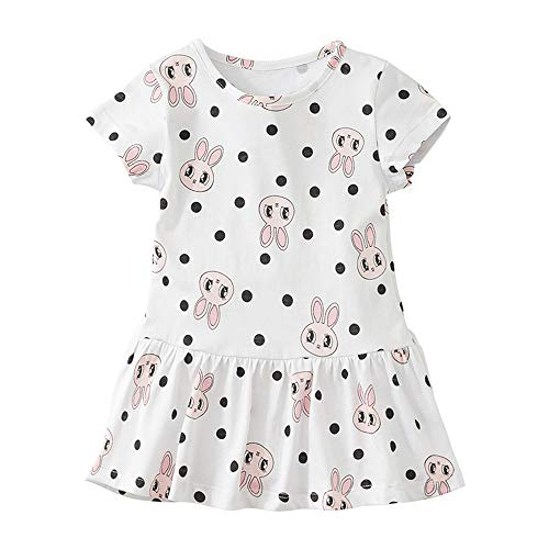 Girls Cotton Summer Short Sleeve Dress Cute Bunny Unicorn Butterfly Flower Heart Shade Printed Casual Clothing Sets Size 2T-7T (3T(37.4-39.4inch),...