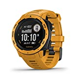 Garmin Instinct, Rugged Outdoor Watch with GPS, Features GLONASS and Galileo, Heart Rate Monitoring and 3-Axis Compass, Sunburst Yellow gps heart watch Jan, 2021