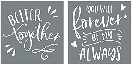 Better Together and You Will Forever Be My Always Sign Stencils For Painting on Wood and More - Create Beautiful Wood Signs With These Word Stencils – Set of 2 Reusable Stencils for Making Beautiful D