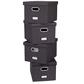 Internet s Best Collapsible File Storage Organizer with Lid - Decorative Linen Filing & Storage Office Box – Hanging Letter/Legal Folder – Home Office Bins Cabinet – Charcoal Container - 4 Pack