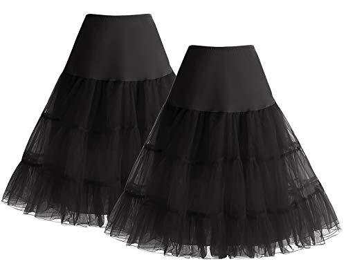 Petticoat Rock Sommerkleid Damen Reifrock Unterrock Petticoat Underskirt Crinoline für Rockabilly Kleid Black+Black L