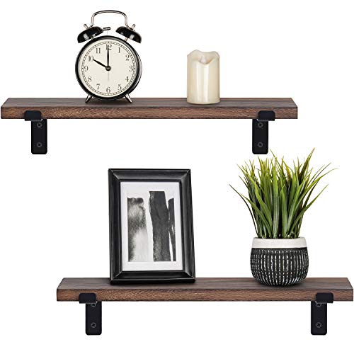 Mkono Rustic Wood Floating Shelves Industrial Wall Mounted Shelving Set of 2 Wall Storage Shelves with Lip Brackets for Bedroom Living Room Bathroom Kitchen Office