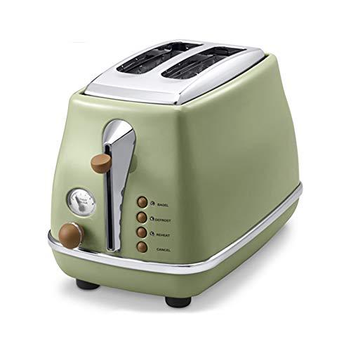 Denghl Tostadora Máquina del Desayuno hogar automática Simple/Doble de los Lados de bicarbonato de Acero Inoxidable Revestimiento Retro tostadora hornos encimera,Verde