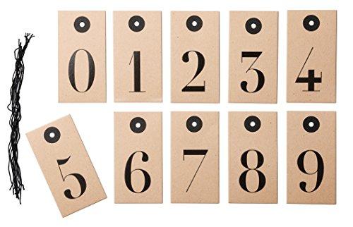 IKEA HISTORISK 40264107BR ギフトタグ 8x4cm ナンバー ブラウン 10 ピース