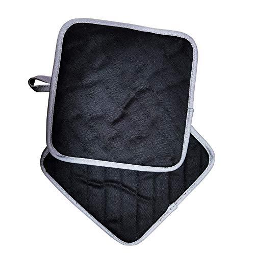 Rifny Topflappen, Baumwoll Topflappen mit Tasche Hitzebeständig Ofenhandschuhe für Kochen, Küche, Backen, BBQ, 2er-Set Schwarz (Lange 21x21 cm)