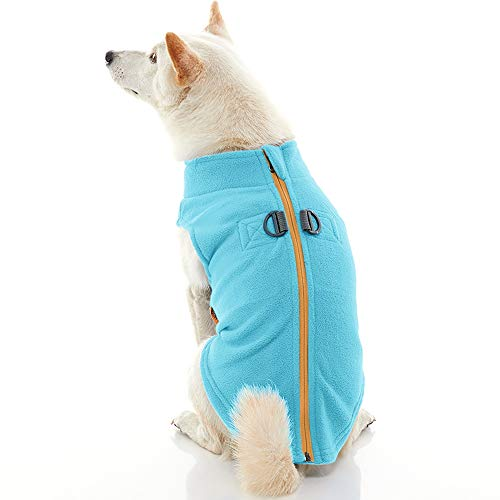 Gooby Zip Up Fleece Dog Vest - Turquoise, Small - Step-in Dog Jacket with Zipper Closure and Leash Ring - Winter Small Dog Sweater - Warm Dog Clothes for Small Dogs for Indoor and Outdoor Use