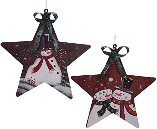 Christmas Star Hanging Ornament Metal Snowman Decor Set of 2, 6X5.6 Inch Rustic Christmas Tree Snowman Decoration Star Ornament Wall Door Hanging Decoration Party Decor (Star Ornament)
