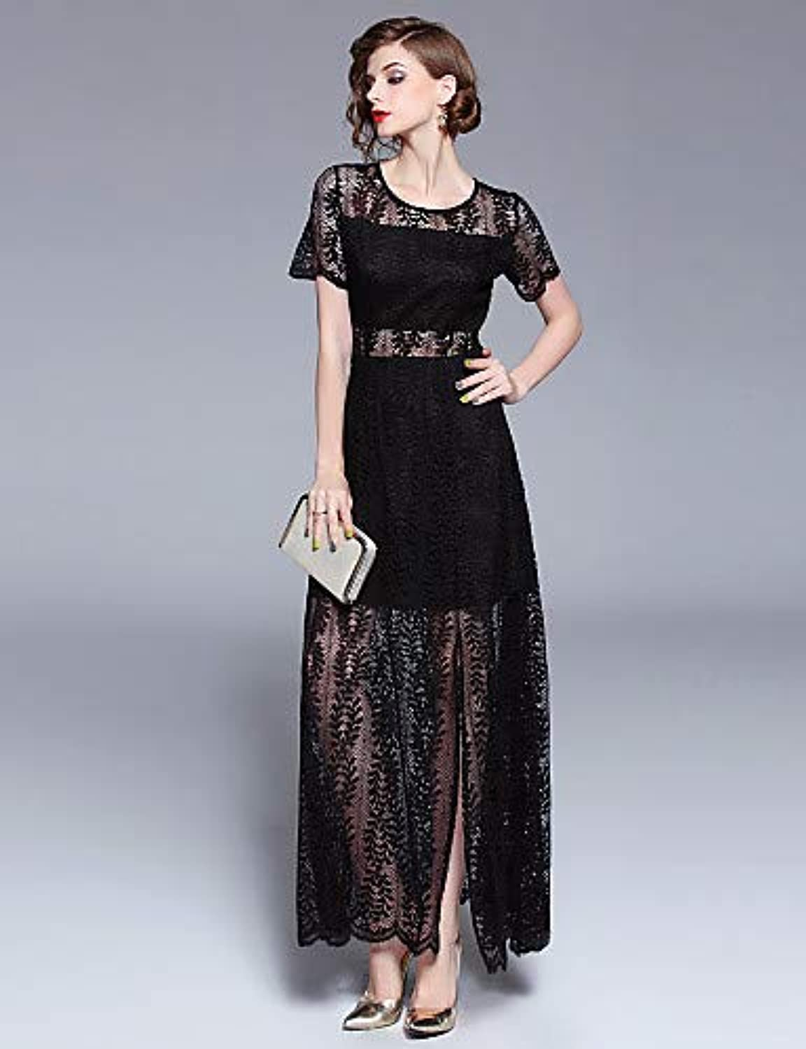 Women's Vintage Sophisticated Swing Dress  Solid colord Lace Split