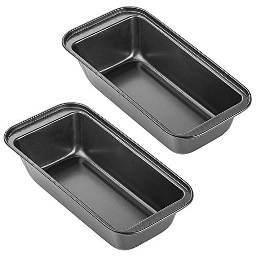 Loaf Pan, Kmeivol 2 Pack Bread Loaf Pan, Non-Stick Loaf Pans for Baking Bread, Multi-Function Mold Mini Loaf Pan, Carbon Steel Bread Pan for Bread, Cakes, Quiche and Brownies - 10.1' x 5.1' x 2.4'