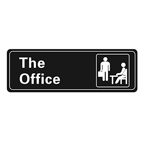 Nakimo The Office Sign Self-Adhesive Sign 9 X 3 Inch Door or Wall Sign Name Plate Acrylic (Black and White)