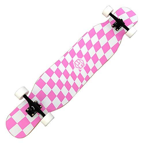 Patinetes para niños Monopatín de longboard, monopatín Completo, zócalo de pie superficial, fácil de desmontar, Doble Kick Concave Standard, adecuado para principiantes, adolescentes ( Color : Pink )
