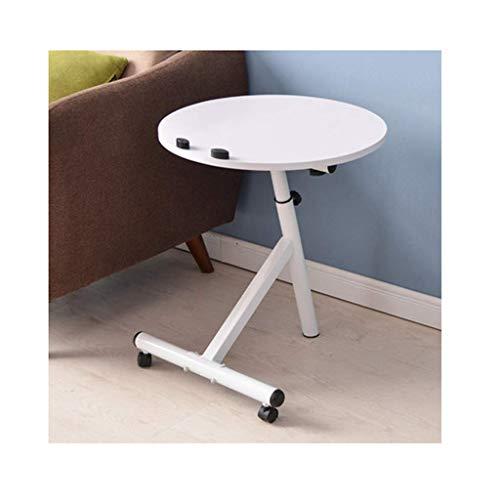Computertafel op wielen, afneembare salontafel, eenvoudige ronde woonkamer, slaapkamer, salontafel, kleine salontafel, kleine tafel (kleur: roze) wit