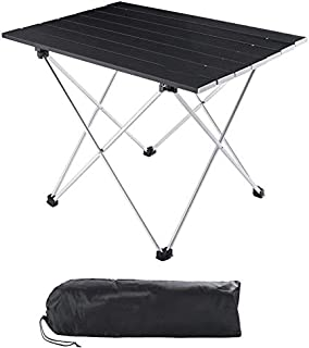Folding Camping Table, Portable Beach Table Mini Aluminum Foldable Picnic Table Collapsible Roll up Tables with Carry Bag for Outdoor Camping Cooking,Fishing,BBQ,Home Use