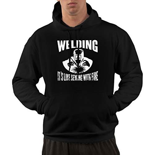 Sudadera de manga larga con capucha para hombre, diseño clásico con texto en inglés 'Welding It's Like Sewing with Fire Pullover Hooded Sweatshirt with Pockets' Negro Negro ( XXXL