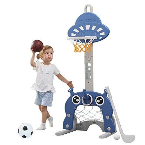 Celiy_Ship from US Warehouse 4 in 1 Adjustable Basketball Hoop Stand with Basketball/Ring Toss/Soccer/Goal Toys & Hobbies Sports & Outdoor Play