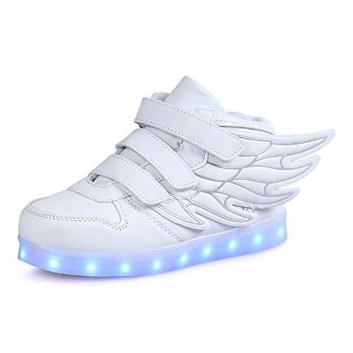 SAGUARO High Top Led Boots Shoes with Wings Boy Girls Light Up Tennis Shoes Grow On Bottom (Toddler/Little Kid), White