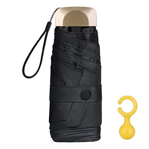 Vicloon Mini Paraguas, Paraguas de Viaje Portátil 6 Varillas, Paraguas Plegables con 210T Negro Tela de Goma, Aleación de Aluminio de Costilla & Mango Dorado, Resistencia UV & Impermeable - Negro