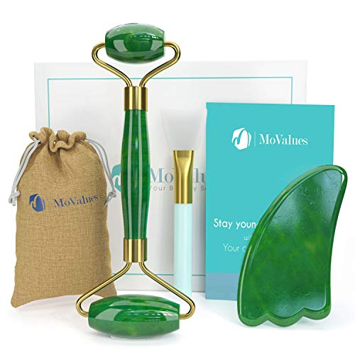 Original Jade Roller and Gua Sha Set - Jade Roller for Face...
