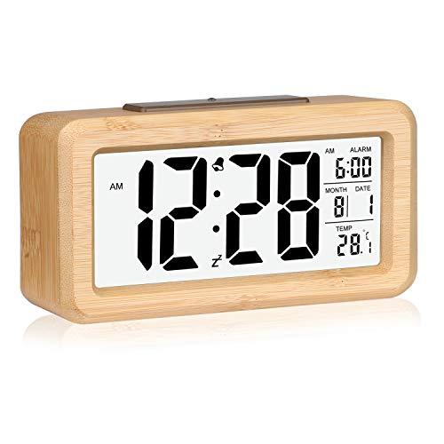 Wecker,Digitaluhr,Digital Wecker Uhr Mit Großer Lcd Display Datum Und Temperatur Anzeige Mit Snooze Und Nachtlicht Funktion Für Kinder, Für Zuhause, Schlafzimmer, Badezimmeruhr Und Büro (Bambus Braun)
