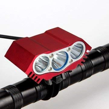 Fiets & fiets fiets koplampen - 3 x T6 LED koplamp voorzijde fiets koplamp hoofd - rood - 1 x 6000lm 3 x T6 LED licht eenheid (2IN1 Kan worden gebruikt als koplamp of fietslicht)