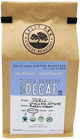 DELICIOUS Organic Decaf Coffee Water Process Chemical Free Medium Roasted Peru Coffee Whole product image