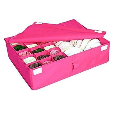 2 in 1 Foldable Drawer Divider, Tune Up Underwear Socks Ties Bra Drawer Organizer Storage Box (Hot Pink)