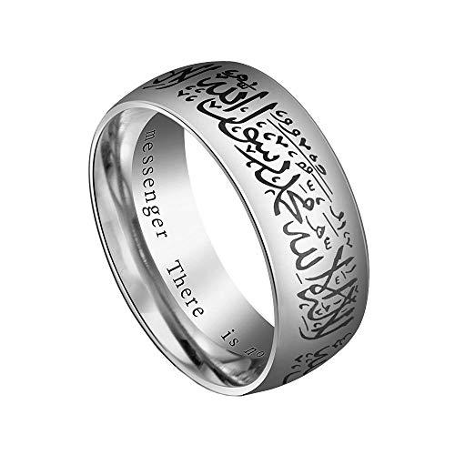 HIJONES Ring Islamischer Muslim Shahada Männer Rostfreier Stahl Silber Größe 60