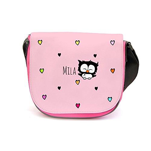ilka parey wandtattoo-welt Kindergartentasche Kindertasche Umhängetasche Schultertasche Tasche Eule mit Herzen und Wunschnamen kgt05 - ausgewählte Farbe: *rosa Aufdruck*