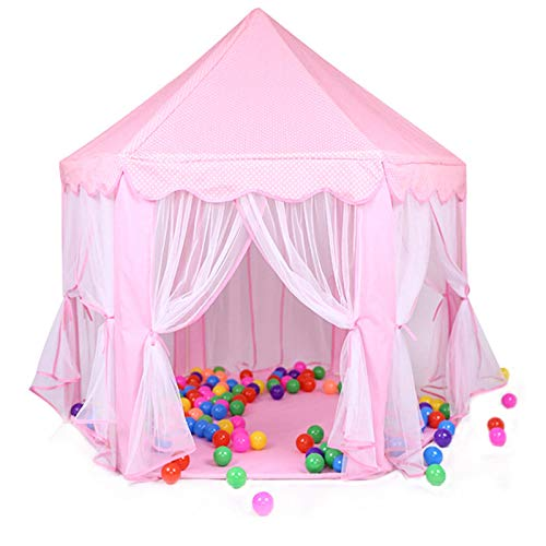 Tents Yurt, Hexagonal Indoor Roof Playhouse Pink Play with Net Yarn, Lightweight Assembled Blue Indian (Color : Pink, Size : 140 * 142CM)