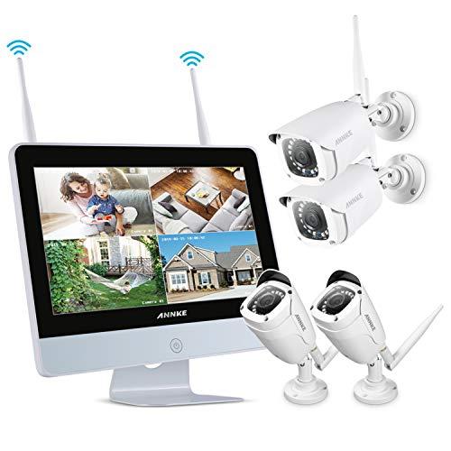 ANNKE Videosorveglianza 8 canali NVR wireless WIFI Kit 12' Schermo LCD...