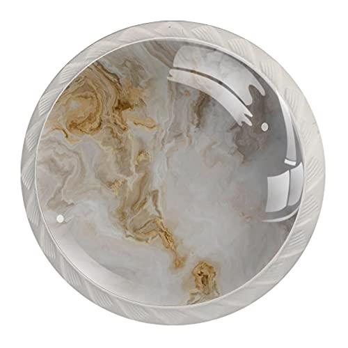 (4 piezas) pomos de cajón para cajones, tiradores de cristal de cristal, para gabinete, hogar, oficina, armario, amarillo, blanco, mármol, 35 mm