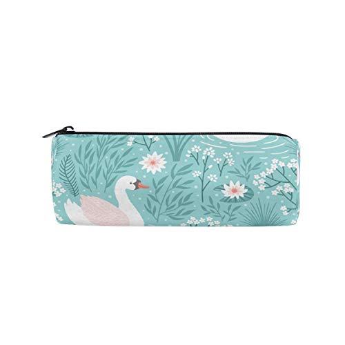 Estuche para bolígrafo Estacionario Pond Bird Swan Bolsas para lápices Estuche portátil redondo para escolares Niños Estuche de cosméticos para niños Estuche de belleza para maquillaje