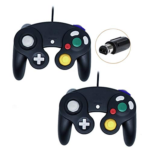 Gamecube Controller, Wired Gamepad for Nintendo Wii Console (Black and Black)